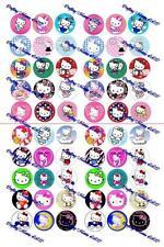 "60 Precut 1"" Hello Kitty Bottle cap Images Set 1"