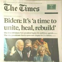 The Times Newspaper Joe Biden Kamala Harris Inaguration Day January 21, 2021
