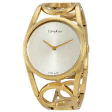 Calvin Klein Round Silver Dial Yellow Gold-tone Ladies Watch K5U2S546