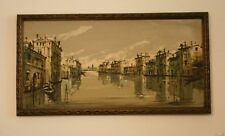 Mid Century Impressionist Oil Painting On Canvas Of Venice Wood Framed Signed