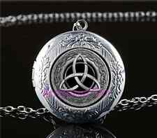 Celtic Trinity Knot Cabochon Glass Tibet Silver Locket Pendant Necklace