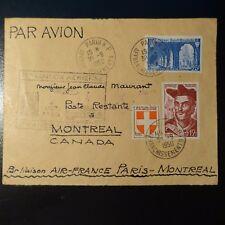 AVIACIÓN LETRA COVER PREMIER VUELO FRANCIA CANADÁ 1950
