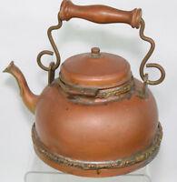Vintage Tea Kettle Ornate Copper Plated Wooden Handle Decorative Teapot