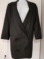Womens River Island Vintage Retro 80s 90s  Black Long Boyfriend Jacket Blazer 12