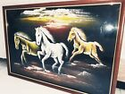 WALL DECORATOR 3 RUNNING HORSE HANGING WALL PORTRAIT LUCKY PAINTING HAND MADE