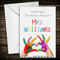 Personalised Teacher Card thank you Nursery Childminder end of year greeting