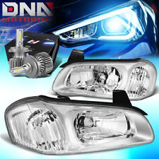 FOR 2000-2001 NISSAN MAXIMA FRONT DRIVING HEADLIGHTS W/LED KIT+COOL FAN CHROME
