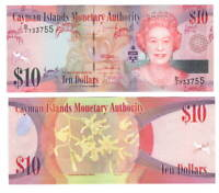 CAYMAN ISLANDS $10 Dollars UNC Banknote (2010) P-40a Queen Elizabeth D/1 Prefix