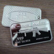 M16 Rifle / 1 Troy oz  .999 Fine Silver Bar Bullion / U.S. Military SB167