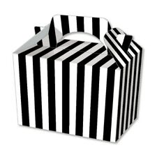 10 Black Stripe Party Boxes - Food Loot Lunch Cardboard Gift Stripey Popcorn