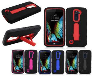 For LG Premier LTE IMPACT Hybrid Hard Rubber Case Phone Cover Kickstand