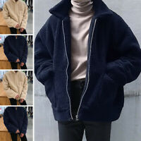 Men Womens Winter Teddy Bear Fluffy Coat Fleece Fur Jacket Zip Up Outerwear Tops