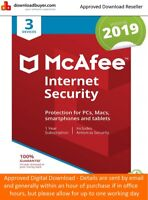 McAfee Internet Security Anti Virus Software 2019 3 Users/PC NEW 1 Year Licence