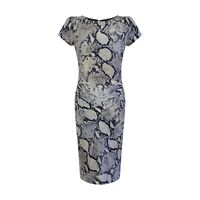 NEW Laura Ashley Grey Snake Print Lined Shift Dress SIZE 10 - 18 Short Sleeve