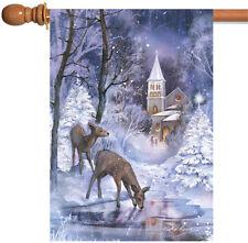 Toland Frozen Fawns 28 x 40 Winter Christmas Church Deer Snow Pond House Flag