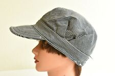 Vintage Set 2 Train Engineer Hats Conductor Caps Hickory Stripe Work wear 6 3/4