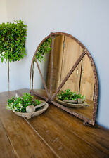 Rare Antique French Industrial Metal Half-Moon Arched Window Mirror