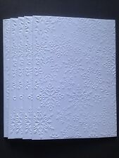 5 Blank A6 White Embossed Cards & Envelopes - Snowflakes
