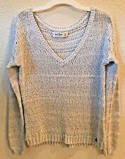 Abercrombie Kids White Gray Shimmer Knit V-Neck Sweater Size XL