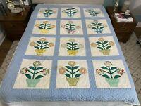 VTG Handmade Quilt Coverlet Bedspread Flower Pot Applique Blue 58'' x 76''