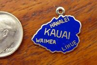 Vintage silver KAUAI HAWAII HAWAIIAN ISLAND MAP HANALEI WAIMEA ENAMEL charm RARE