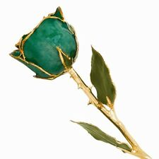 """Green Rose 24K Yellow Gold Trimmed Lacquered Long Stem Rose 12"""" Kelly Green"""