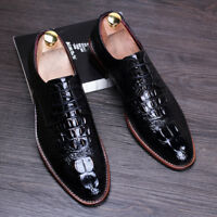 Vintage Lace Up Casual Synthetic Leather Alligator Casual Dress Formal Shoes
