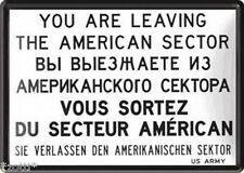 Nostalgic-Art Blechpostkarte 10x14 cm - You Are Leaving The American Sektor