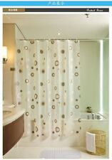 PEVA Shower Curtain Bathroom Waterproof Polyester Fabric Random Pattern & Hooks