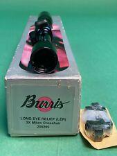 """Burris Long Eye Relief 3x Mikro Pistol Scope .625"""" Tube FreeRings P/N 200295 NOS"""