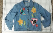 Embriorided Spring Denim Jacket Size L 12 /14 by White Stag