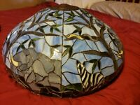 "Elephant and Zebra Tiffany Style Stained Glass Lamp Shade 24"" Diameter. Vintage"