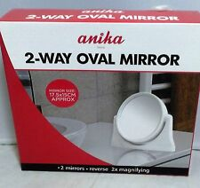 Mirror 2-Way OVAL Reverse 2x MAGNIFYING Dressing Table Bathroom Travel