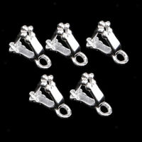 5pcs 925 Sterling Silver Flower Clasps Connector Jewelry Making Findings
