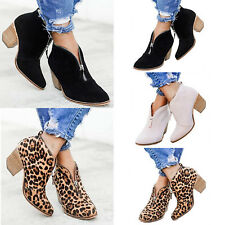Women's Block Heel Ankle Boots Slippers Ladies Chunky Booties Chelsea Shoes Size