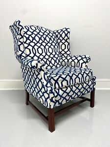 Vintage Mahogany Frame Chippendale Style Wing Back Chair in Blue & White