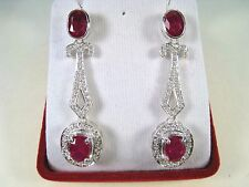 RUBY & WHITE SAPPHIRE EARRINGS 8.83 ctw WHITE GOLD over 925 STERLING SILVER