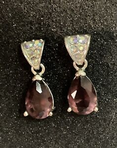 Fashion Drop Earings Amethyst Stone and Micro Pave Crystals