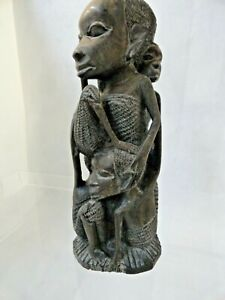Superb African tribal Mother and four children statue