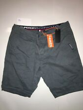 "New With Tags Genuine Superdry International Chino Shorts, Size L 34"" Blue"