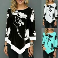 Women Floral Print Loose Irregular Blouse Long Sleeve T-Shirt Tops Ladies Size