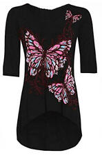 L98 New Womens Girls Ladies 3/4 Sleeve Fishtail Top Dress Front Butterfly Floral