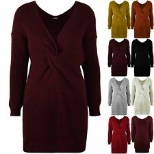 Womens Chunky Knitted Ladies Knot Twist Front Wrap Over Long Baggy Jumper Dress