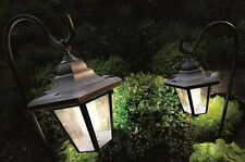 Pack of 2 Solar Powered White LED Shepherd Lanterns Lamp Outdoor Garden Lights