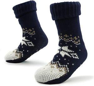CityComfort Mens Slipper Bed Socks for Men with Sherpa Wool Non Slip, Navy&White