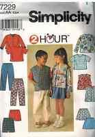 7229 UNCUT Simplicity SEWING Pattern 2 Hour Childs Jacket Skirt Pants Vest Top