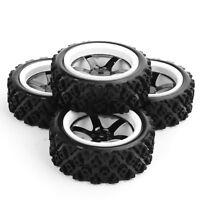 4pcs 1/10 RC Rally Racing Off Road Car Rubber Tires Tyre Wheel Rim Set 12mm hex