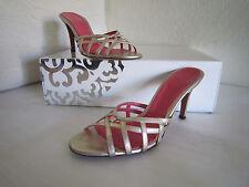 Judith Leiber Metallic Gold Leather Jewel Slides Sandals Shoes Women'S Size 6.5