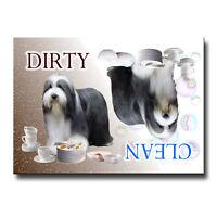 BEARDED COLLIE Clean Dirty DISHWASHER MAGNET Beardie