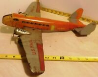 Marx Tin Litho Wind Up Air Mail Airplane 990-5 Two Engine Working Toy